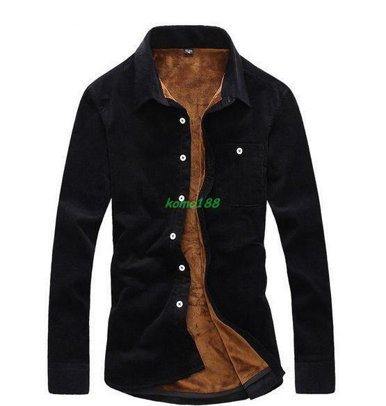 Mens Casual Long Sleeves Fur Lined One Button Shirts Korea Formal Blouses Tops