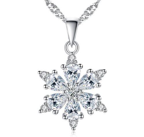 Copo de Nieve Colgante Collar Cadena De Plata Esterlina 925 para Mujeres Niñas Joyas Regalo
