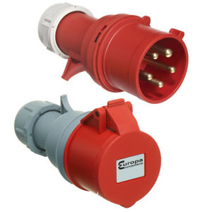 Details about 16 AMP Red 415V 3 Phase Industrial Plugs and Sockets 4 Pin 5  Pin IP44 Ceeform