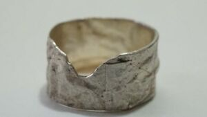 E292-Hand-Made-Modernist-Foiled-Sterling-Cigar-Band-Ring-Size-7-3-4