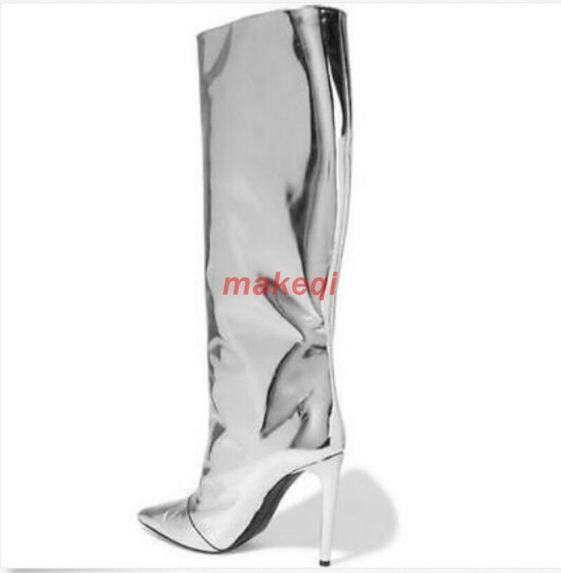 Sexy Womens Pointed Toe Toe Toe High Heel Stilettos Bright Knee High Boots T-Stage shoes 820260