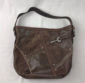 Details About Fossil Leather Hobo Patchwork Handbag Suede Shoulder Bag Satchel With Key