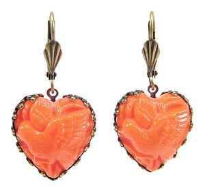 SoHo-Ohrhaenger-Ohrringe-bohemia-Glas-bronze-Herz-coral-1960s-handmade-Taube