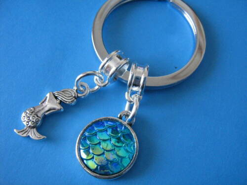 Mermaid Keyring Little Mermaid Charm Irridescent Fish Scales Charm