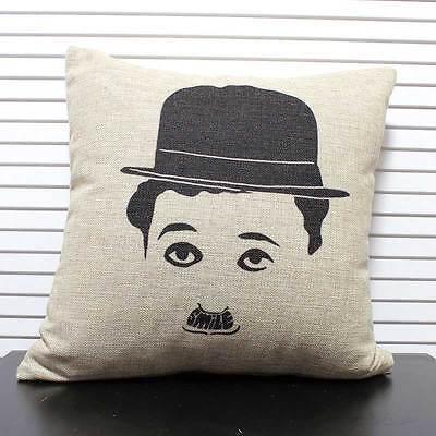 Charlie Chaplin Head Portrait Cushion Cover Throw Pillow Case Linen Home Decor