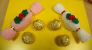 CHRISTMAS CRACKER COVER FOR 2 FERRERO ROCHER CHOCOLATES KNITTING PATTERN & KIT | eBay