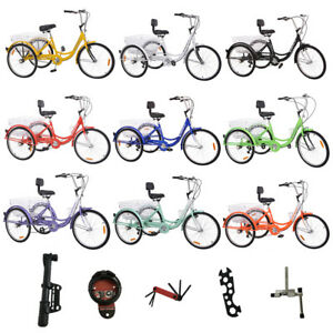 More-Color-24-034-Adult-Tricycle-3Wheel-7Speed-Bicycle-Trike-Backrest-Cruiser-Basket
