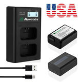 2x NP-FW50 Battery  Dual USB LCD Charger For Sony Alpha A6500 A6300 A6000 A7 US