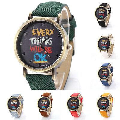 Popular Men Women Denim Cloth Belt Faux Leather Slogan Analog Quartz Wrist Watch