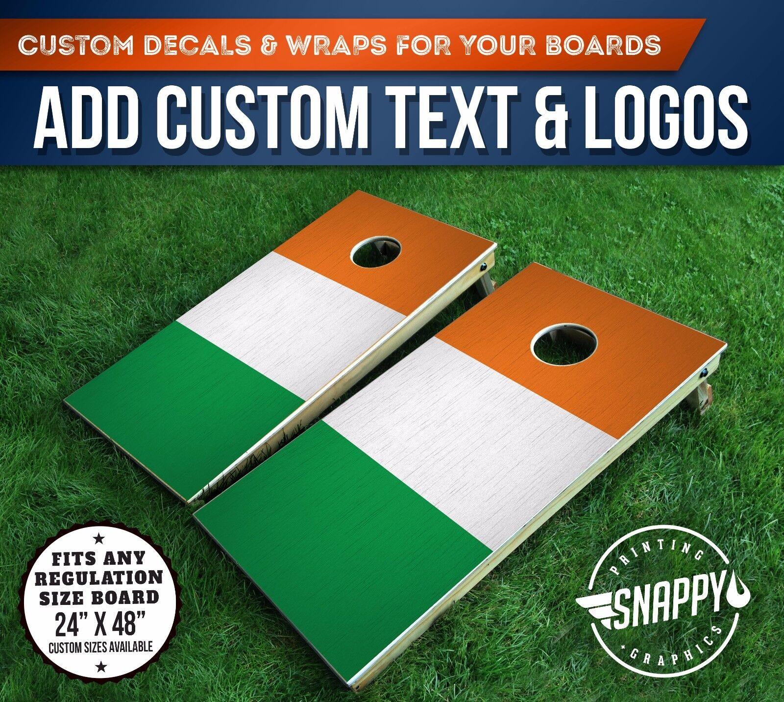 Cornhole Vinyl Decals, Bag Toss Board Wraps, IRISH FLAG Vinyl Wrap