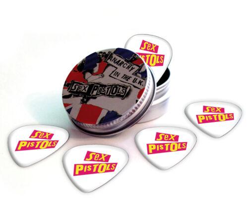 Sex Pistols 5 X Logo Guitar Picks in Tin Plectrums