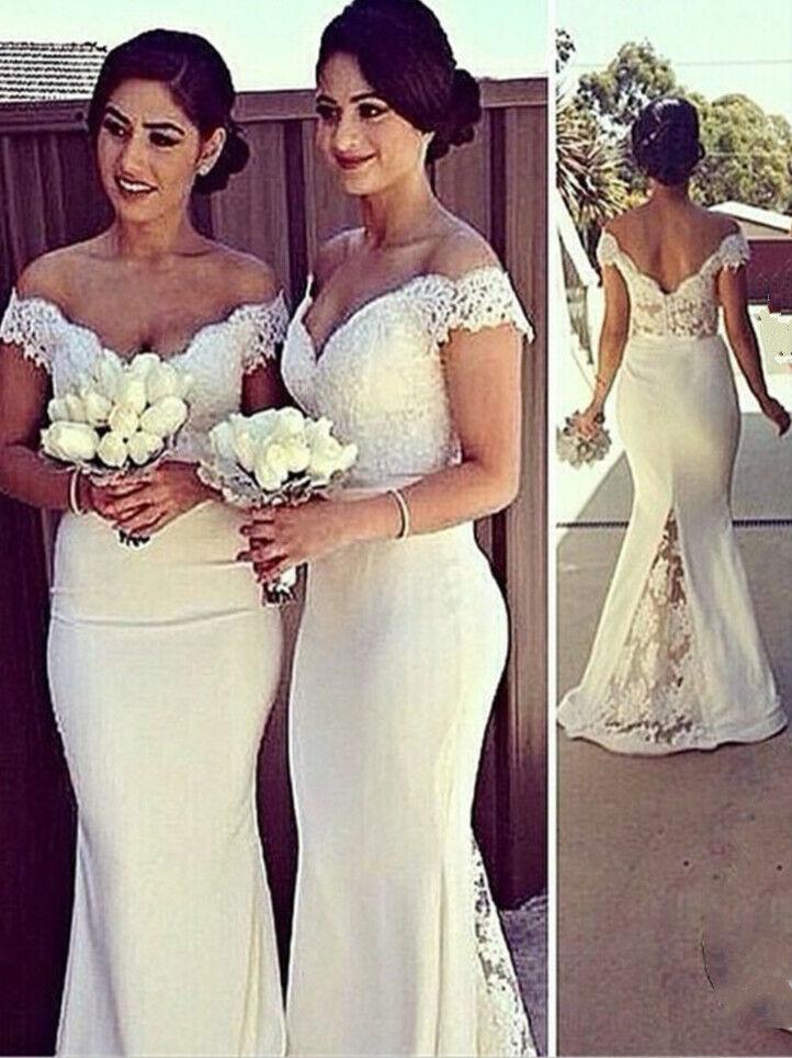 Women's Lace dress DeepV Bridemaid Long Wedding Party Evening Ball Gown Dress