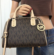 Michael Kors Borsa a tracolla monogram marrone Tote bag Authentic RRP £ 260