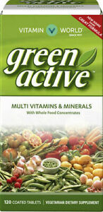 Vitamin World Green Active Multivitamin/Mineral *Whole Food*- 120 Coated Tablets