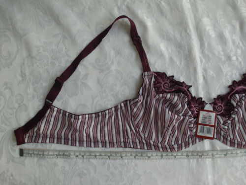 Balconette Bra~Soft Cup /& No Pad~Underwire ~Red Flowery /& Striped~Size 40B//C//D//E