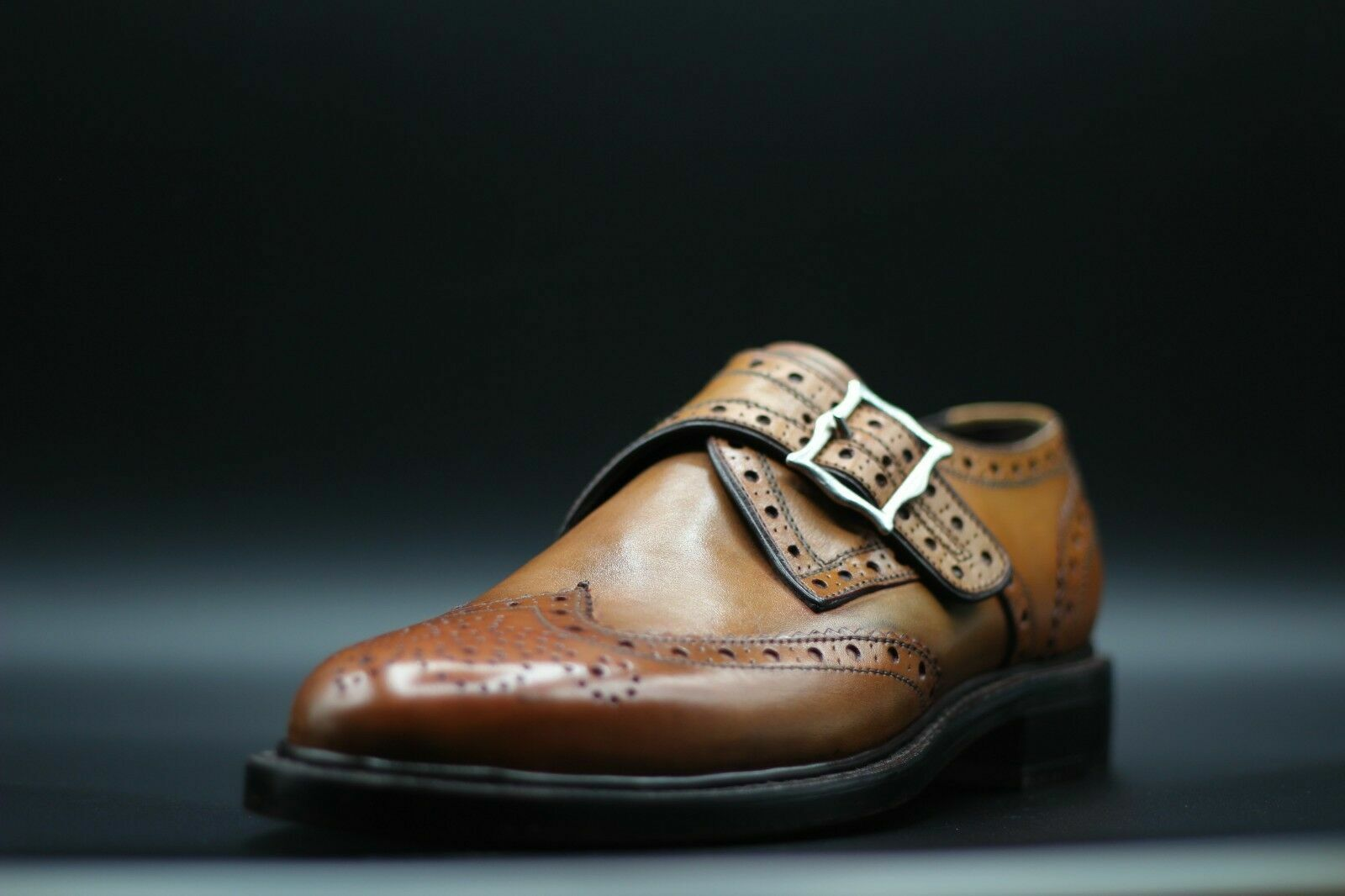 Mens Handmade shoes Tan Tan Tan Leather Single Monk Oxford Brogue Wingtip Formal Boots ce46a0