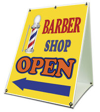 Barber Shop Open With Arrow Sidewalk A Frame 18x24 Outdoor Store Retail Sign