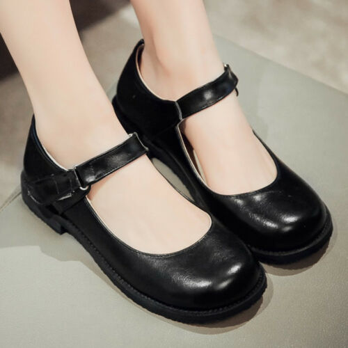 Women Sweet Hot Ankle Strap Mary Jane Flat Heel Patent Leather Lolita Shoes Size
