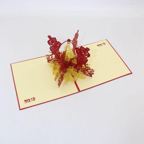 3D Cochon cartes de voeux nouvel an Spring Festival carte postale papier-Cut cartes Shan