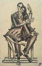 "Audrey Pilkington (1922-2015) ""The Couple"" ink and coloured pencils c1941/2"