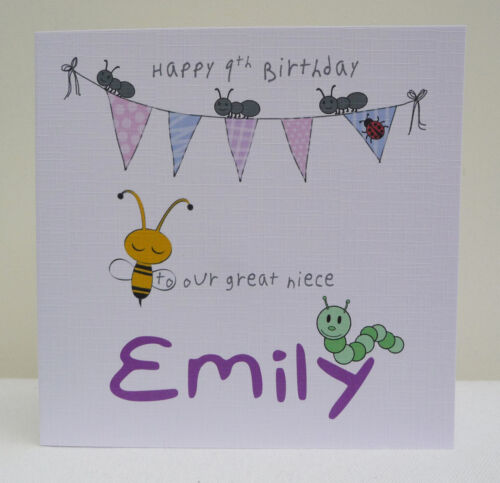 Personalised Girls Birthday Card 1st 2nd 3rd 4th 5th Any Age Daughter Niece