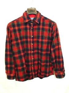 Pendleton-L-Boys-Red-Blue-Green-Tartan-Plaid-Wool-Shirt-Button-Front-Pocket-Kids