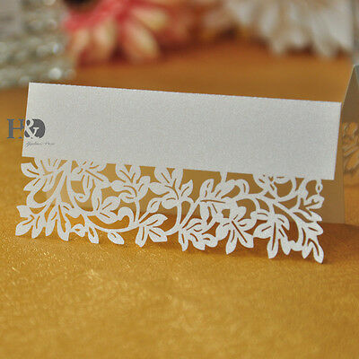 36pcs White Leaf Table Name Place Card Recycled Paper Ideal For Party Or Wedding