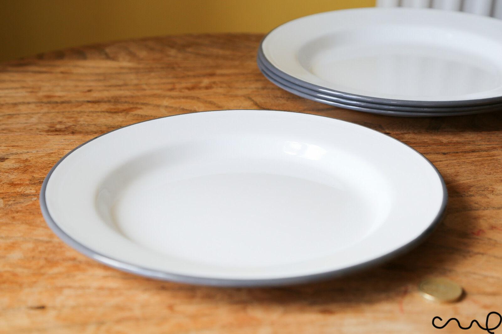 Falcon Enamelware 4 Plate Set Grey Rim 24cm Cooking Baking Oven Kitchenware VAT