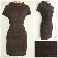 NEW Ex Laura Ashley Burgundy & Black Animal Print Mini Dress 8 10 12 14 16 18 20