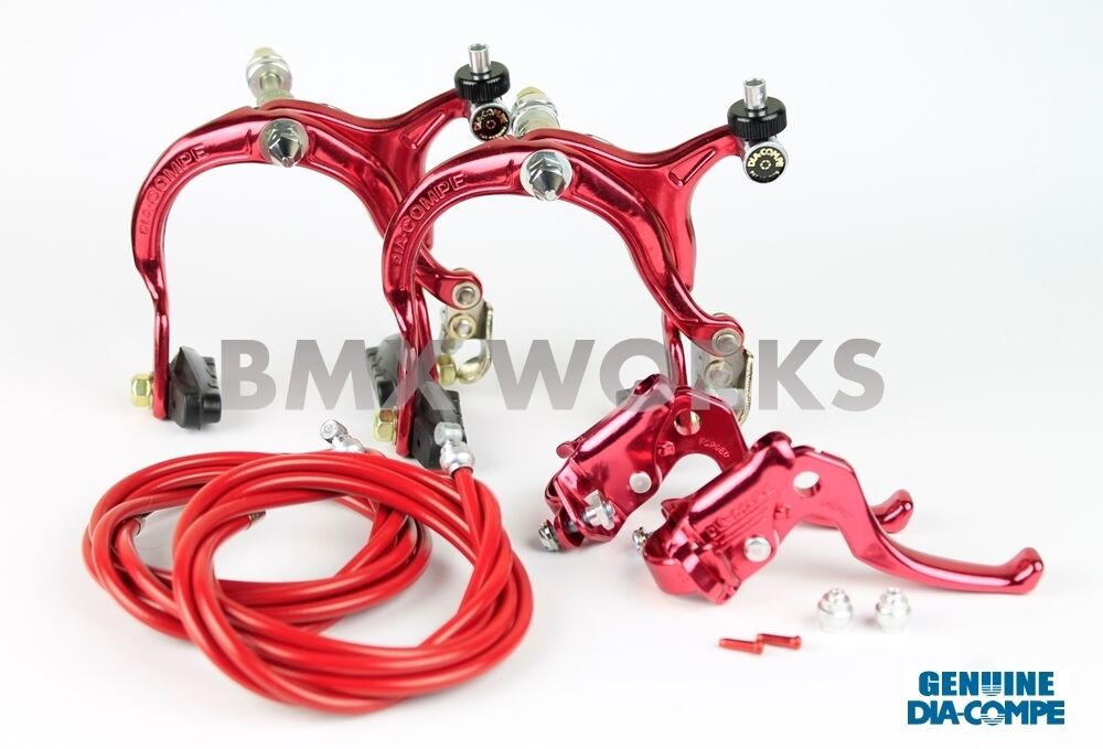 Dia-Compe MX883 - MX122 Red Brake Set -  Old School BMX Style Brakes  fast delivery