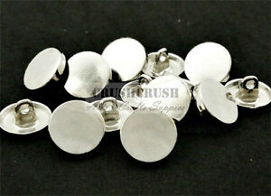 FREE-SHIPPING-20pcs-Metal-Silver-Flat-Cap-Round-Shank-Buttons-Sewing-Fabric-B51