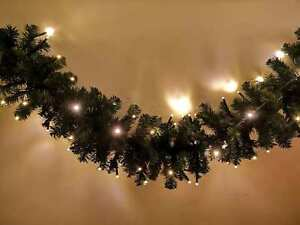 Details About 9 Feet Pre Lit Green Christmas Garland 2 7m Long 80 Warm White Leds Ip44