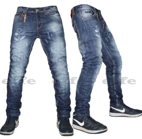 Jeans Uomo Denim Pantaloni Blu Dritto 5 Tasche Nuovo 13109