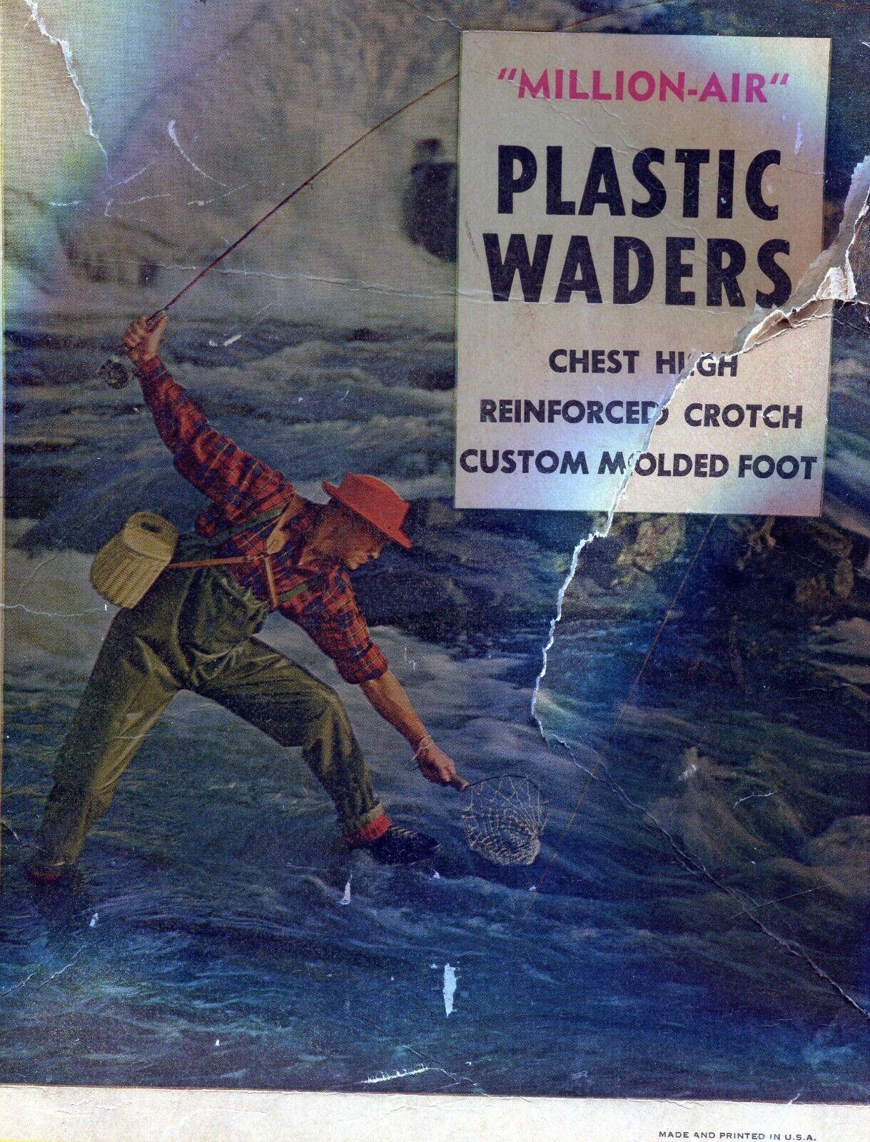 Vintage Millionair Plastic Chest Waders Vinylite Plastics Medium 810 scarpe Dimensione
