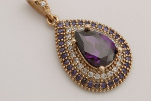 Details about  /Turkish Handmade Jewelry Small Drop Amethyst Topaz 925 Sterling Silver Pendant