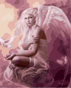 """Painting Supplies Diy Beauty Angel Paint By Number Kit 16x20"""" Acrylic Painting On Canvas 1831 Drip-Dry"""