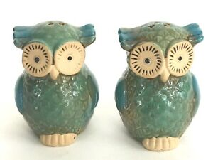 Owl-Salt-Pepper-Shaker-Set-Ceramic-Handcrafted-3x3-inch-Collectible-Vintage