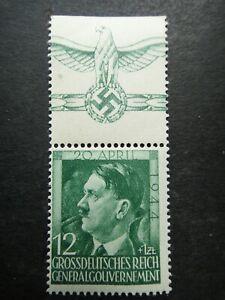 Germany Nazi 1944 Stamp MINT Adolf Hitler 55th birthday Swastika Eagle Generalgo