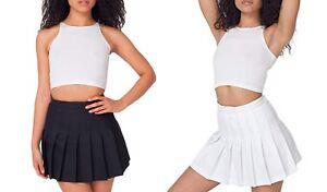 Womens-Black-White-American-Apparel-Pleated-Tennis-School-Mini-Skirt