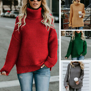 Women-Winter-Warm-Turtleneck-Chunky-Knitted-Sweater-Thick-Knit-Pullover-Jumper