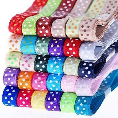 "30YDS 3/8"" 9mm bulk 30 style polka dot grosgrain scrapbooking ribbon wholesale"