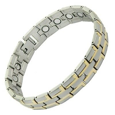 Mens Silver Gold Titanium Magnetic Energy Bracelet with ions Gift Box & Adjuster