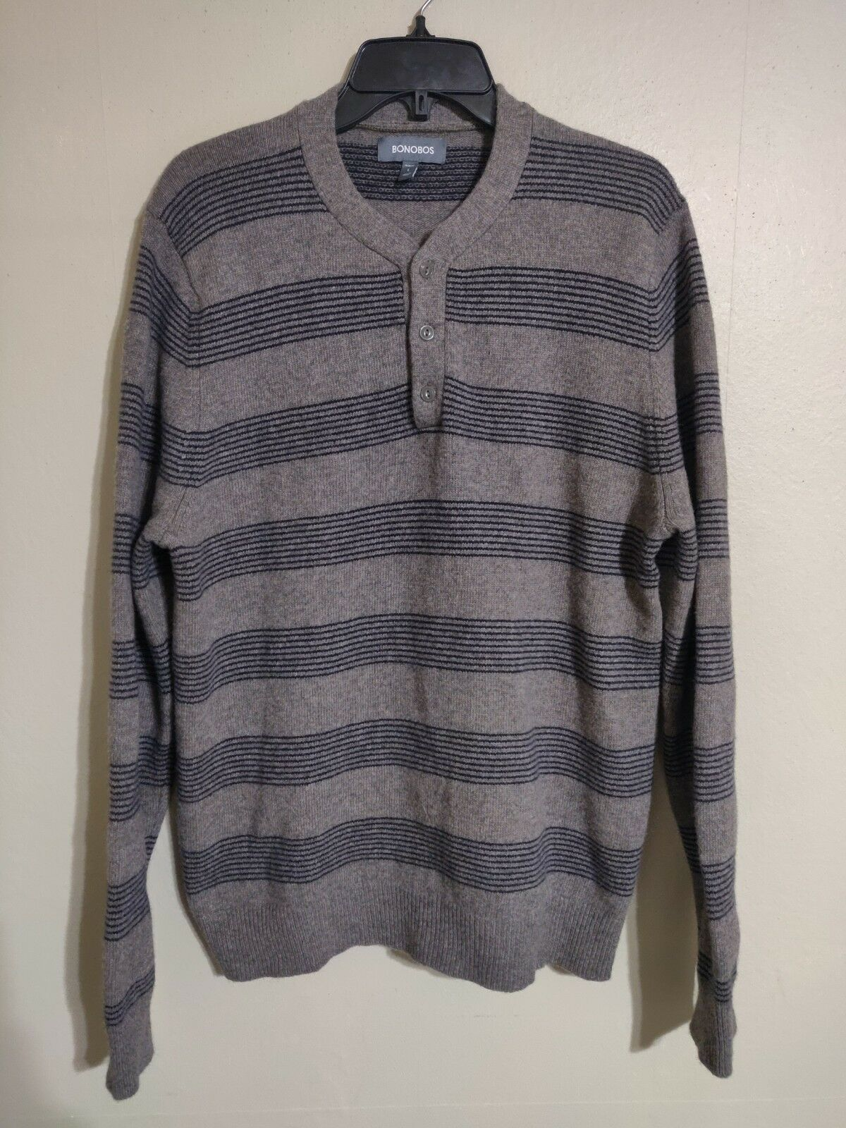 Bonobos Slim Fit Henley Style Merino Wool Blend Pull Over Sweater -Men's Large L