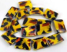 """25x18mm Tiger Skin Mother Of Pearl Rectangle Bead 16"""""""