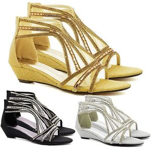 62191121019 Image is loading Womens-Diamante-Low-Mid-Heel-Wedge-Shoes-Sandals-