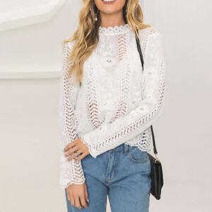 Elegant-Women-Turtleneck-Lace-Crochet-Floral-Flare-Long-Sleeve-Shirt-Blouse-TopS