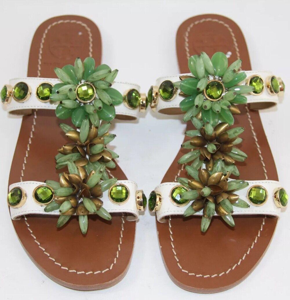 NOUVEAU  Tory Burch Sydney vert Beaded Diapositive Plat Sandale Taille 7 msrp  295