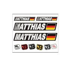 MATTHIAS Auto Fahrrad Motorrad Kart Helm Fahrername Aufkleber Sticker Flagge