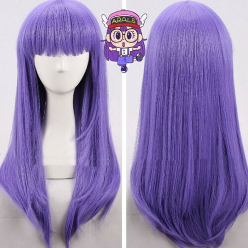 Dr Slump Arale chan Perücke Wig Cosplay Kostüme Costume Lila Purple Long Lang