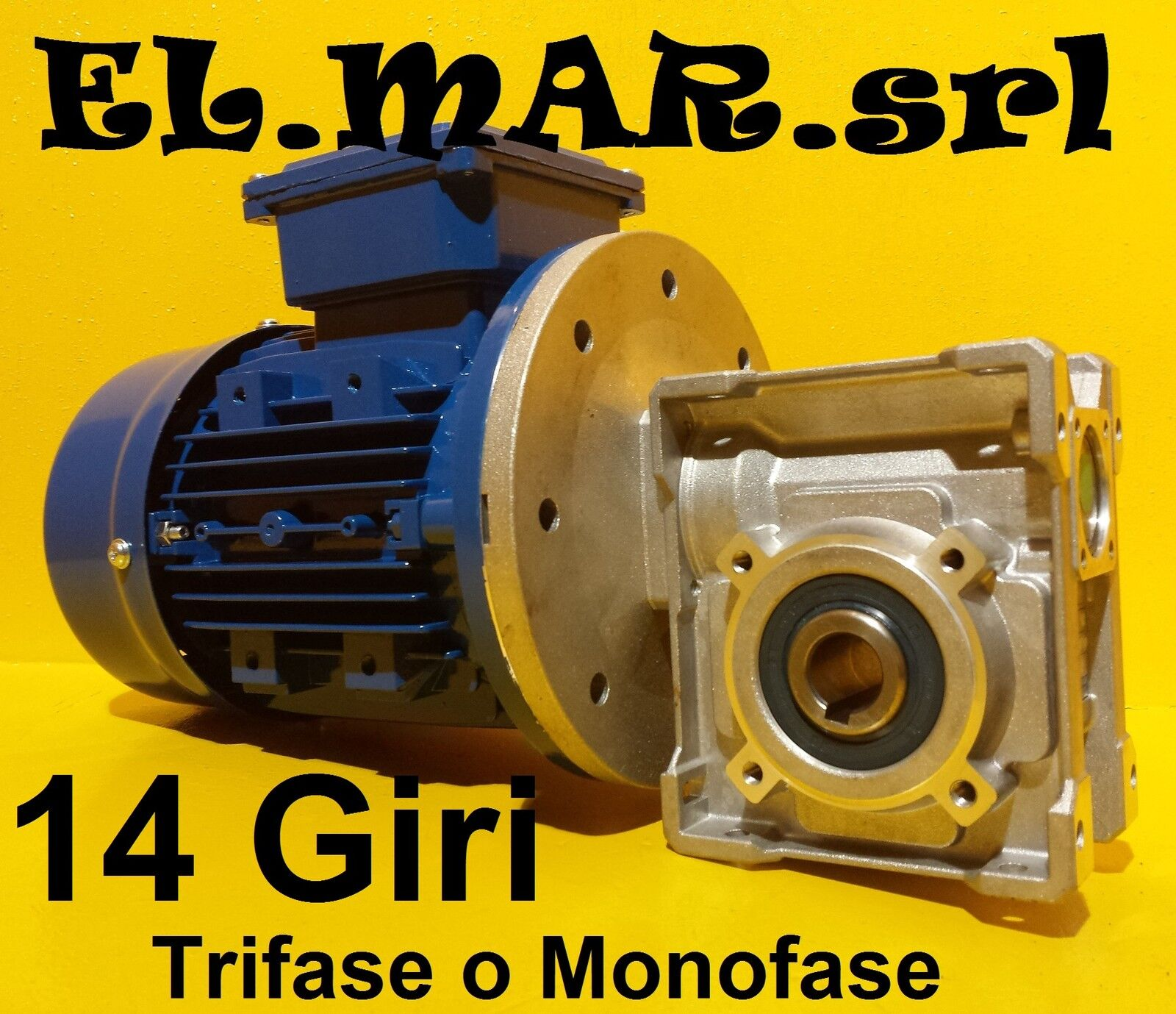 Motoriduttore 14 Giri HP 0,25 Riduttore di giri Motore Monofase Trifase Kw 0,18